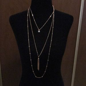 Layered necklace tassel crystal chain dainty